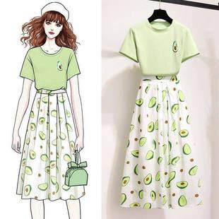 牛油果小清新套装女夏季印花T恤+高腰百褶半身长裙俏皮单两件套