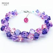S925纯银尾链小清新奥地利紫水晶手链女ins小众设计个性新年礼物
