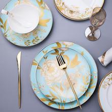 骨瓷餐具套装家用欧式陶瓷碗10个高颜值碗盘碗筷中式盘子组合碗碟