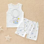 宝宝背心短裤套装夏季薄款竹纤维婴儿无袖睡衣哈咪奇男童女童夏装