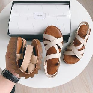 自然卷夏季仙女风沙滩凉鞋百搭韩版平底防滑孕妇鞋学生罗马凉鞋
