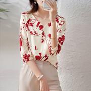 杏色短袖衬衫女夏2021V领衬衣设计感小众雪纺上衣显瘦
