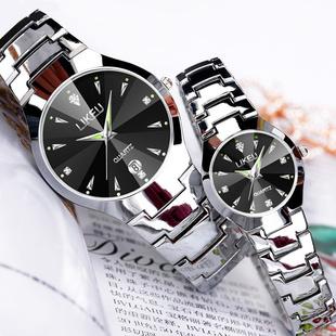 简约时尚手表女士学生手表男士女表情侣防水超薄男表石英腕表
