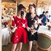 红色重工高端连衣裙女装秋冬晚会礼服过年喜庆气质名媛风优雅