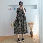 孕妇装夏季高端连衣裙时尚款潮辣妈个性夏天裙子宽松网红雪纺长裙