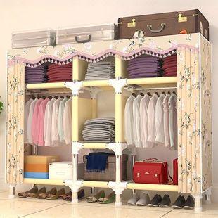 简易衣柜布衣柜钢管加粗加固非实木大号双人单人布衣柜收纳架衣橱