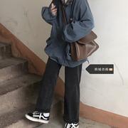 牛仔裤女直筒宽松学生韩版小个子复古百搭烟灰色高腰阔腿老爹长裤