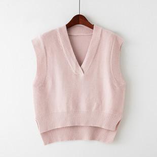 2018春季短款坎肩女士毛线马甲V领无袖背心套头针织毛衣