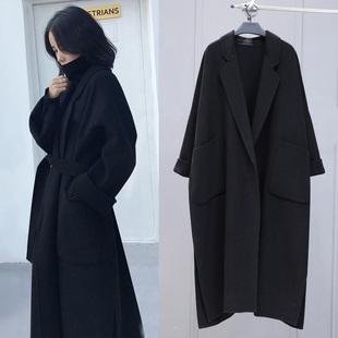 双面羊绒手工羊毛呢子大衣女秋冬超长款过膝黑色赫本斗篷毛呢外套