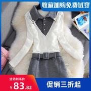 秋冬韩版衬衣领假两件加绒蕾丝连衣裙修身大码拼接毛呢包臀裙