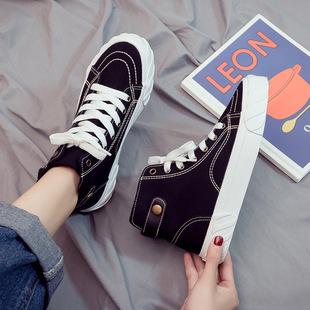 2019夏季高帮帆布女鞋百搭黑色布鞋网红夏天小白板鞋潮鞋
