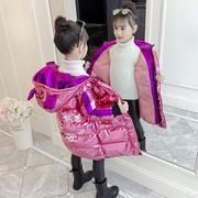 潮童装女童羽绒棉服冬装2018儿童洋气中长款棉衣棉袄外套