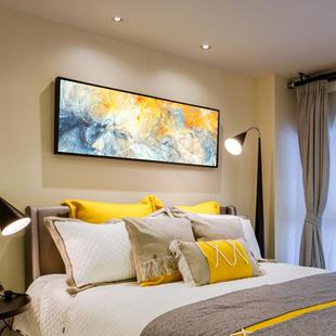 抽象卧室床头装饰画简约现代客厅横幅挂画大气沙发长条背景墙酒店