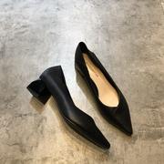 英伦风小皮鞋2019秋季时尚简约OL尖头浅口黑色中跟单鞋工作鞋