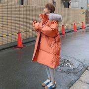 奶蓝色棉服女潮ins秋冬季中长款过膝2020面包服棉袄棉衣外套
