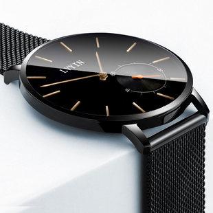 立减100元手表男表学生超薄石英男士手表防水皮带男手表