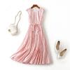 夏夏复古波点连衣裙2021女装红色欧美大牌印花无袖夏季长裙