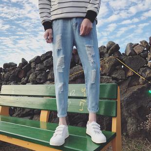 春夏款港风牛仔裤男士帅气破洞小脚长裤帅气潮流纯色直筒裤子