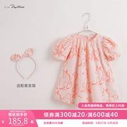 【马克珍妮 法式系列】2021年夏装 女童泡泡袖连衣裙212195