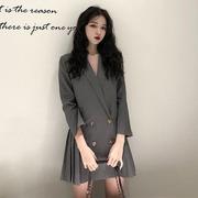 秋冬季v领西装外套女中长款连衣裙高腰百褶裙打底裙黑色裙子