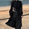 大码女装胖妹妹2020秋冬韩版宽松显瘦不规则赫本风黑色连衣裙