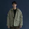 日系棉衣冬季男士外套复古纯色百搭口袋工装风加厚夹棉夹克女