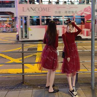 2019闺蜜女装裙子 网纱拼接针织长袖仙女裙高腰红色连衣裙冬