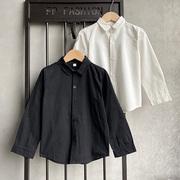 男童白衬衫校园款时尚纯棉衬衣内搭黑色外穿韩版修身百搭休闲上衣