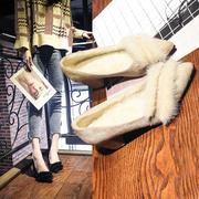 豆豆毛毛鞋女外穿一脚蹬粗跟2018秋冬季中跟高跟加绒仙女单鞋