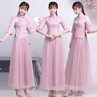 中式伴娘服女2018姐妹团中国风伴娘团礼服复古民国风旗袍冬天
