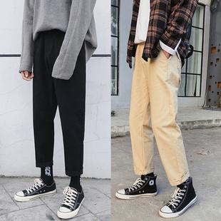 加绒秋季纯色裤九分裤哈伦宽松直筒工装裤男士潮长裤