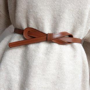 细腰带女式真皮百搭打结装饰皮带时尚黑色配连衣裙子毛衣收腰绑带