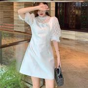 夏季圆领白色重工钉珠泡泡袖蕾丝欧根纱网纱拼接收腰A字连衣裙女