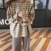 秋冬ins超火宽松慵懒长袖套头毛衣女复古条纹加厚针织衫外套