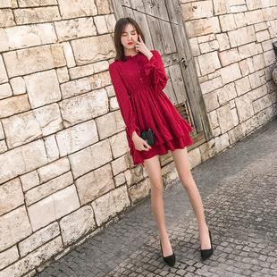 2019春装维多利亚复古雪纺红色连衣裙女秋冬季法式复古仙女裙