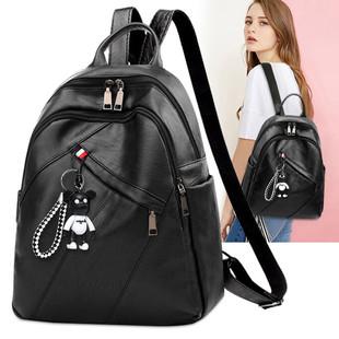 包包女2018时尚双肩包简约女书包旅行小包包软皮背包