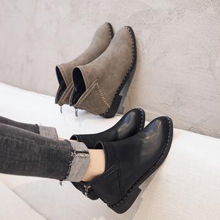 切尔西短靴女2018百搭瘦瘦靴平底网红短筒女靴春秋马丁靴