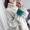 2018秋冬慵懒风麻花高领毛衣女学生套头毛衫宽松粗毛线衣