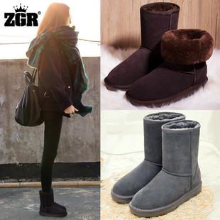 ZGR雪地靴女中筒靴冬季雪地棉磨砂短筒一脚蹬加厚加绒女靴子棉鞋