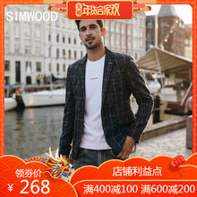 Simwood简木男装2018秋冬混羊毛格子西服男士西装外套潮