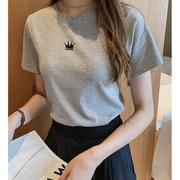 2021春季女装时尚刺绣t恤女短袖上衣宽松圆领半袖体恤打底衫