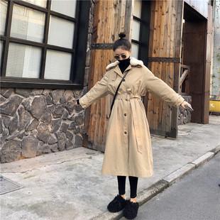冬季2018中长款毛领加厚棉服大衣女时尚复古系带风衣外套