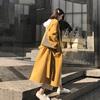 姜黄色双面呢子大衣中长款女秋冬季宽松小个子赫本风过膝毛呢外套