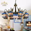 地中海风格灯欧式客厅吊灯大气家用灯具卧室蒂凡尼灯饰彩色玻璃灯