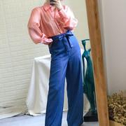 特丹麦国宝 糖果色 橙色千鸟格全真丝缤纷色彩翻领大袖子纽扣衬衫