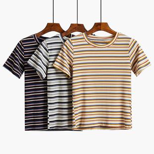 港风条纹短袖t恤短款女夏装2019网红ins潮高腰紧身上衣