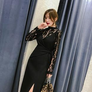 大英子Love2019春季吊带裙女纯色腰间系带连衣裙黑色开叉裙子