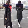 2018冬季女装加厚大毛领派克服中长款收腰显瘦黑色连帽羽绒服