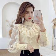 网红衬衫女2019春装时尚木耳边衬衣灯笼袖蕾丝打底衫