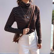 高领毛衣女条纹打底上衣秋冬季加厚外套短款毛针织衫